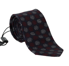 Load image into Gallery viewer, Blue Silk Red Gray Print Classic Tie