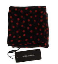 Load image into Gallery viewer, Black Red Polka Dotted Silk Scarf