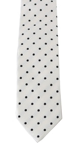 White Silk Polka Dot Print Tie