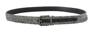 Black White Chevron Wool Leather Belt