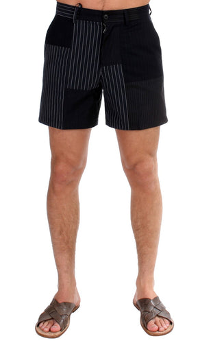 Black Striped Patchwork Cotton Linen Shorts