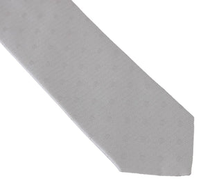 Gray Silk Polka Dot Print Tie