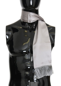 Gray 100% Silk Solid Scarf