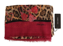 Load image into Gallery viewer, Pink Leopard Silk Cashmere Scarf