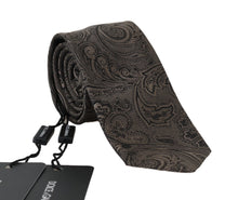 Load image into Gallery viewer, Beige Black Silk Floral Baroque Tie