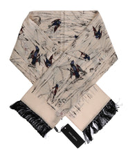 Load image into Gallery viewer, White Silk Bird Scarf