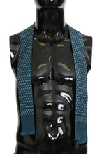 Load image into Gallery viewer, Blue Silk Patterned Skinny Scarf