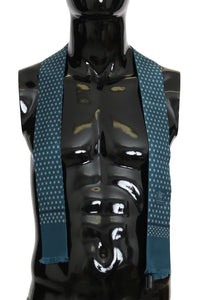Blue Silk Patterned Skinny Scarf