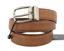 Load image into Gallery viewer, Brown Leather Gray Vintage Buckle Belt