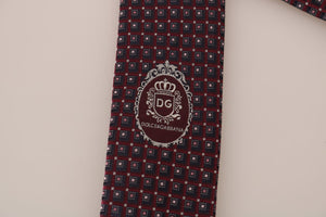Bordeaux Silk Blue Pattern Wide Tie