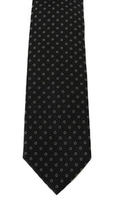 Black Silk White Print Tie