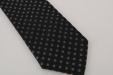 Load image into Gallery viewer, Black Silk White Print Tie
