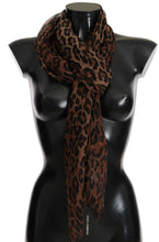 Load image into Gallery viewer, Brown Leopard Silk Print Scarf