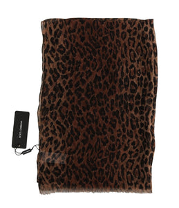 Brown Leopard Silk Print Scarf