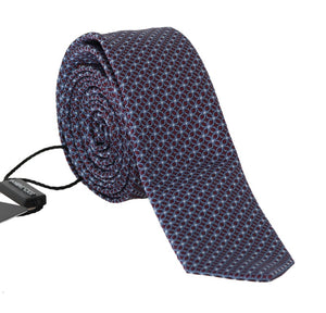 Bordeaux Silk Blue Pattern Slim Tie