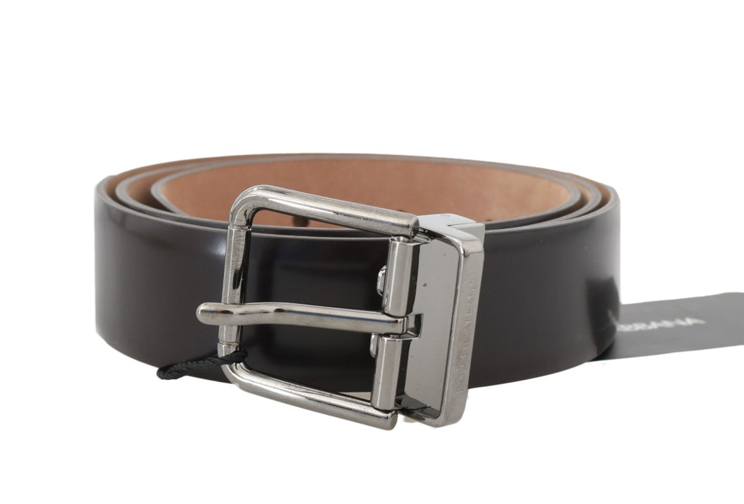 Dark Brown Leather Silver Buckle Belt