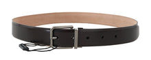 Load image into Gallery viewer, Dark Brown Leather Silver Buckle Belt