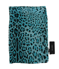 Load image into Gallery viewer, Blue Black Leopard Print Silk Scarf