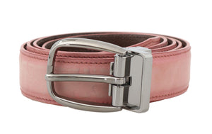 Pink Antique Leather Silver Buckle Belt