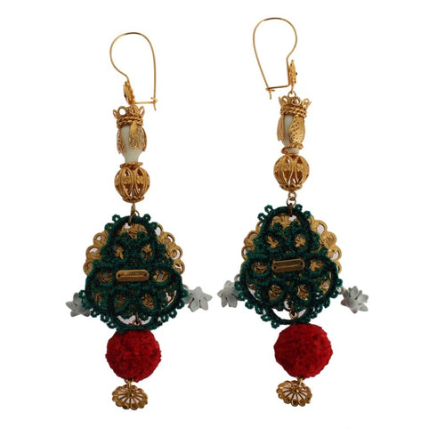 Crystal Gold Floral Pupi Doll Dangling Hook Earring