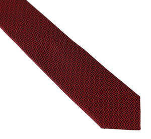 Bordeaux Black Silk Patterned Slim Tie