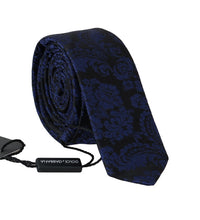 Load image into Gallery viewer, Black Silk Blue Print Slim Tie