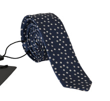 Load image into Gallery viewer, Blue Silk White Polka Dot Print Tie