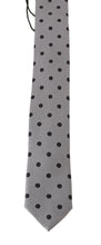 Load image into Gallery viewer, Gray Silk Black Polka Dot Print Slim Tie