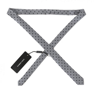 Gray Silk Black Polka Dot Print Slim Tie