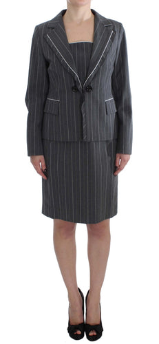 Gray Stretch Suit Sheath Dress & Blazer Set