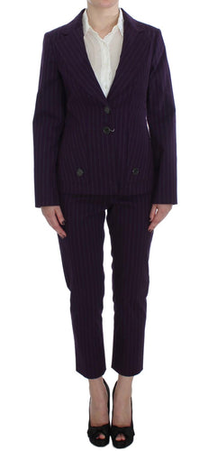 Purple Striped Stretch Suit