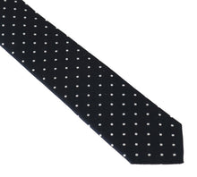 Load image into Gallery viewer, Blue Silk White Polka Dot Print Slim Tie