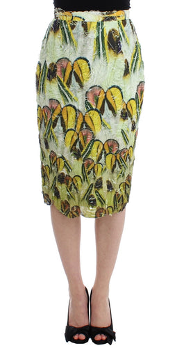 Multicolor Organza Pencil Skirt