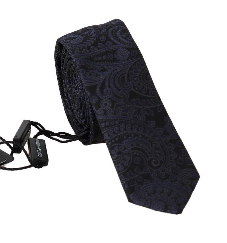 Black Silk Blue Floral Print Slim Tie