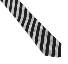 Load image into Gallery viewer, Black White Silk Striped Dotted Slim Tie