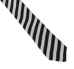 Black White Silk Striped Dotted Slim Tie