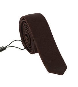 Brown Solid Silk Slim Tie