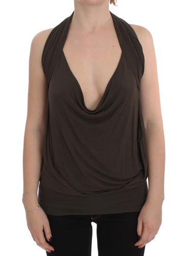 Brown Stretch Sleeveless Blouse