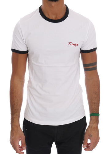White Stretch Mens Crewneck T-Shirt