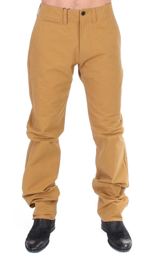Yellow Cotton Straight Fit Chinos