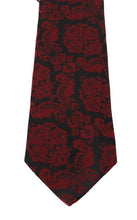 Load image into Gallery viewer, Black Silk Bordeaux Floral Pattern Tie