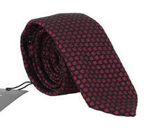 Load image into Gallery viewer, Black Silk Bordeaux Pattern Classic Tie