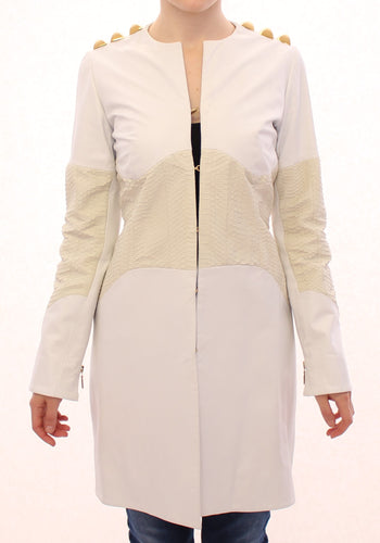 White Leather Long Crocco Jacket