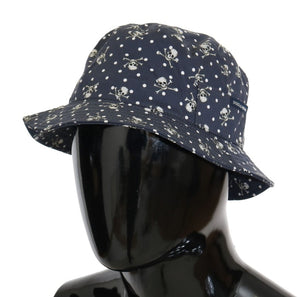 Blue Cotton Skull Polka Dot Print Hat