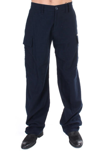 Blue Cotton Cargo Straight Fit Pants