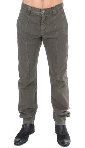 Green Cotton Straight Fit Chinos Pants