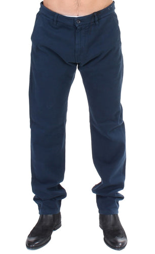 Blue Stretch Straight Fit Pants Chinos