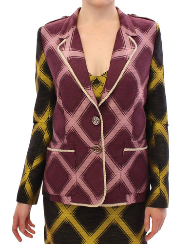 Purple checkered blazer jacket