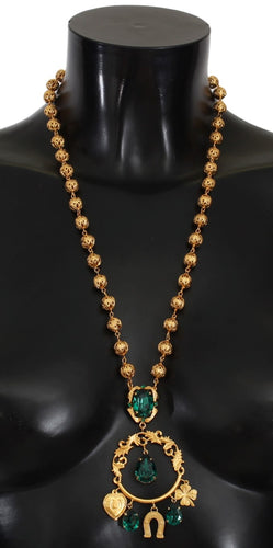 Gold Brass Green Crystal Sicily Charms Necklace