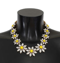Load image into Gallery viewer, Yellow Sunflower Crystal Statement Necklace